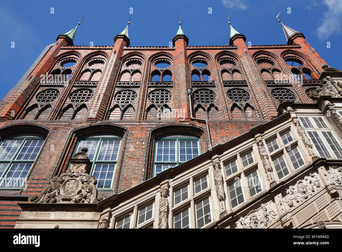 Fassade des alten Rathauses, Lübeck, Schleswig-Holstein, Deutschland, Europa Stockbild
