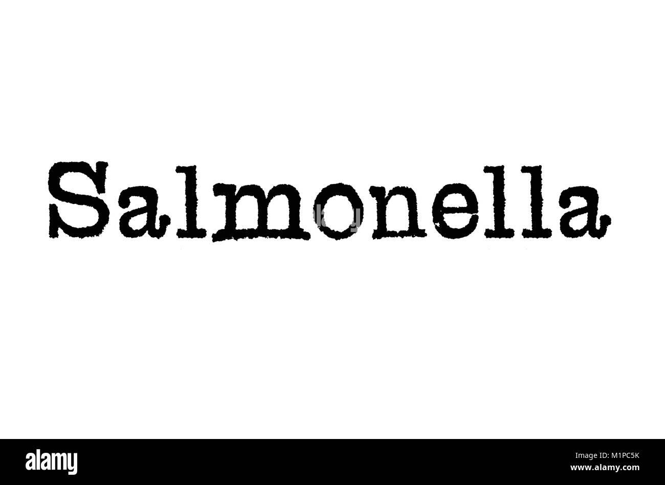 Das Wort Salmonellen aus einer Schreibmaschine auf weißem Hintergrund Stockbild