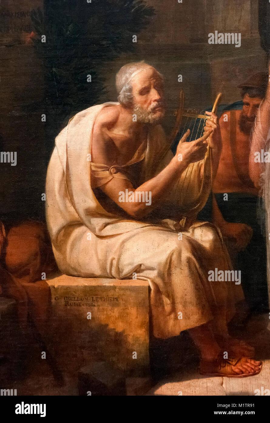 Homer singt seine Ilias im Tor von Athen von Guillaume Lethiere (1760-1832), Öl auf Leinwand, 1811. Von einer Stockbild