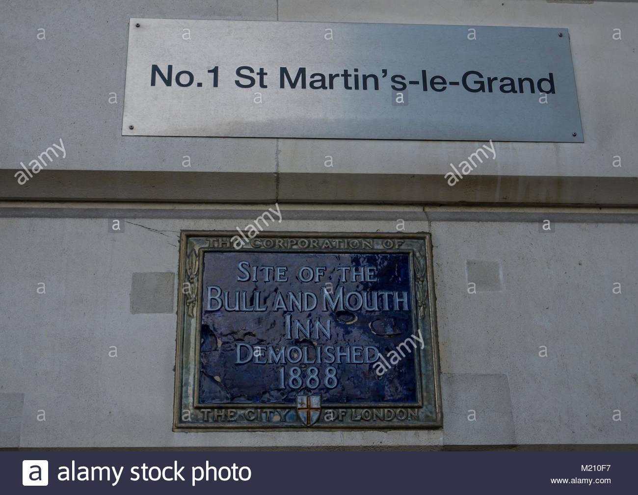 Nr. 1 St Martin's-le-Grand Site des Stieres und Mund Inn abgerissen Stadt 1888 von London England Großbritannien Stockbild