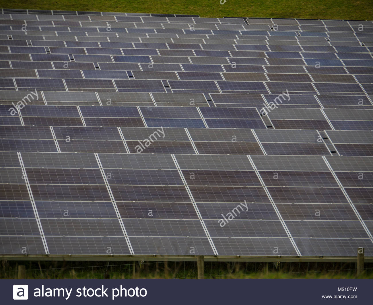 West Sussex Solarzellen im Feld Stockbild