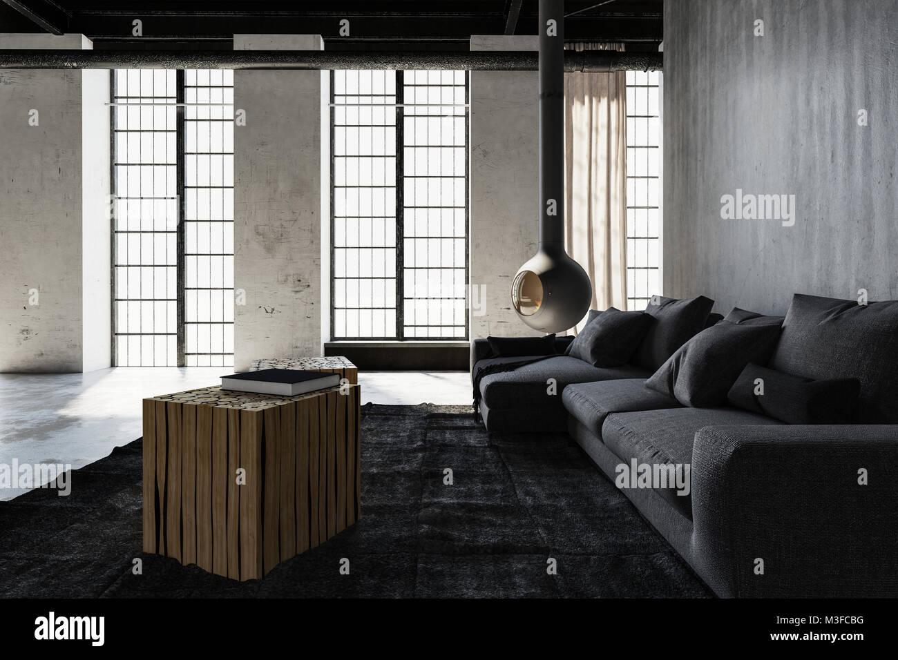 Die moderne industrielle Dachbodenumwandlung Wohnzimmer mit ...