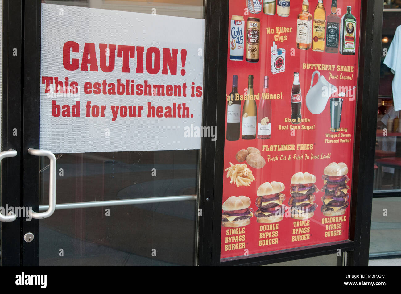 Las Vegas, Nevada. Heart Attack Grill. Das Menü zeigt alle ungesunden Lebensmitteln es dient. Stockbild