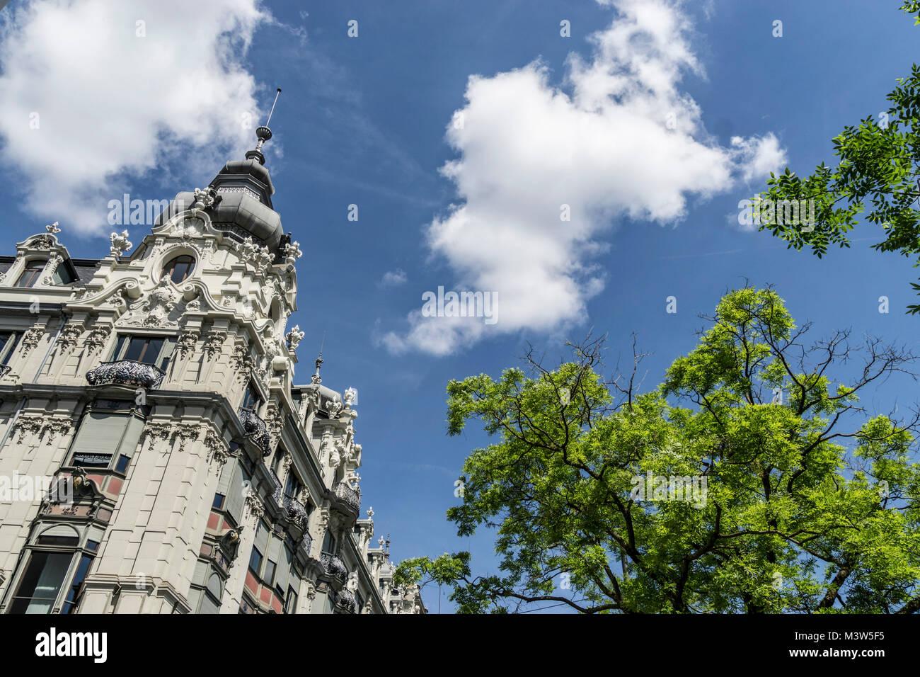 Monopol, Neo-Barock-Illustr., Zürich, Schweiz | Monopol Gebäude, neo-barocke Architektur, Zürich, Stockbild