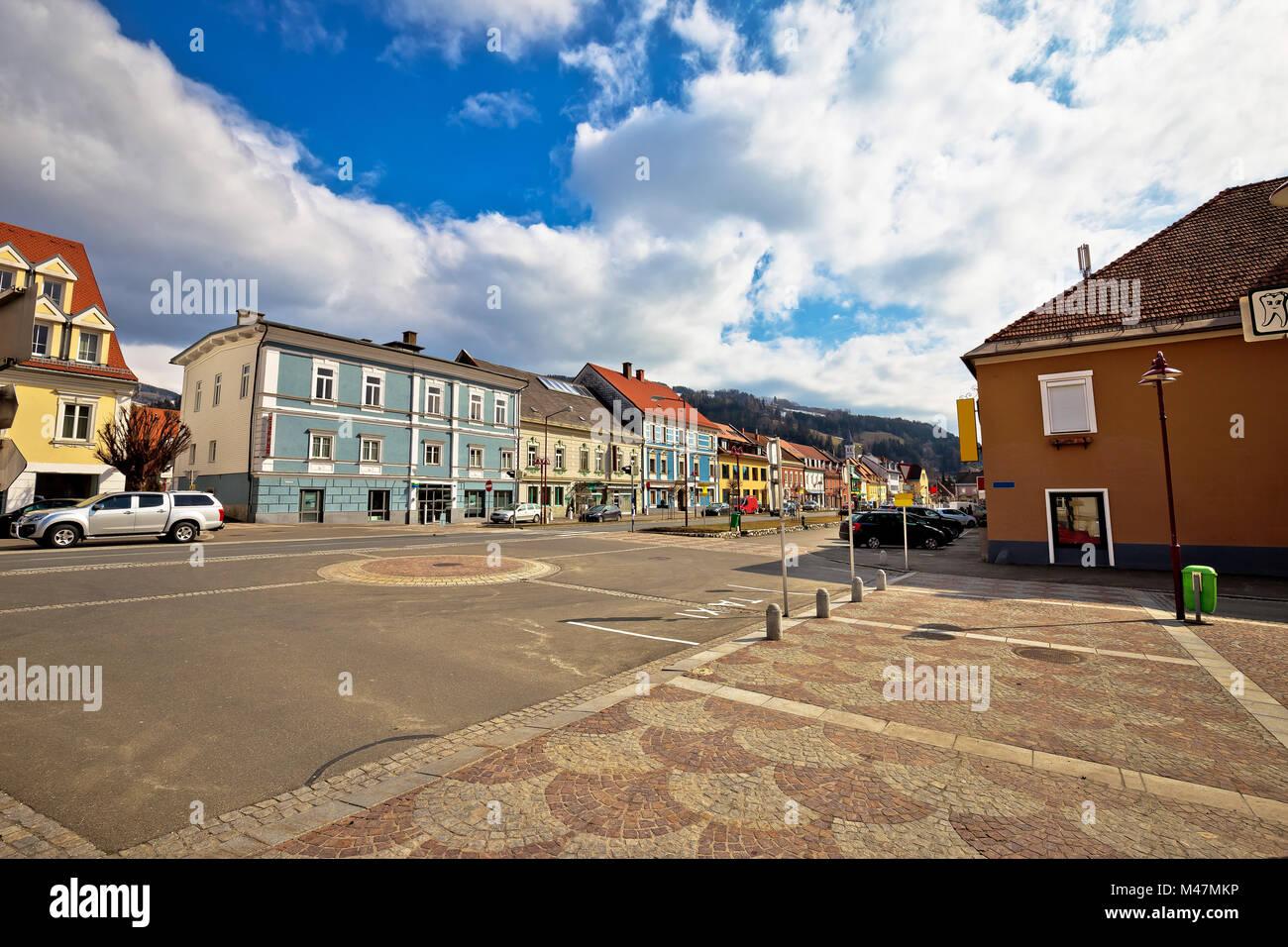 Bad Sankt Leonhard im Lavanttal bunte Straßenbild Stockbild