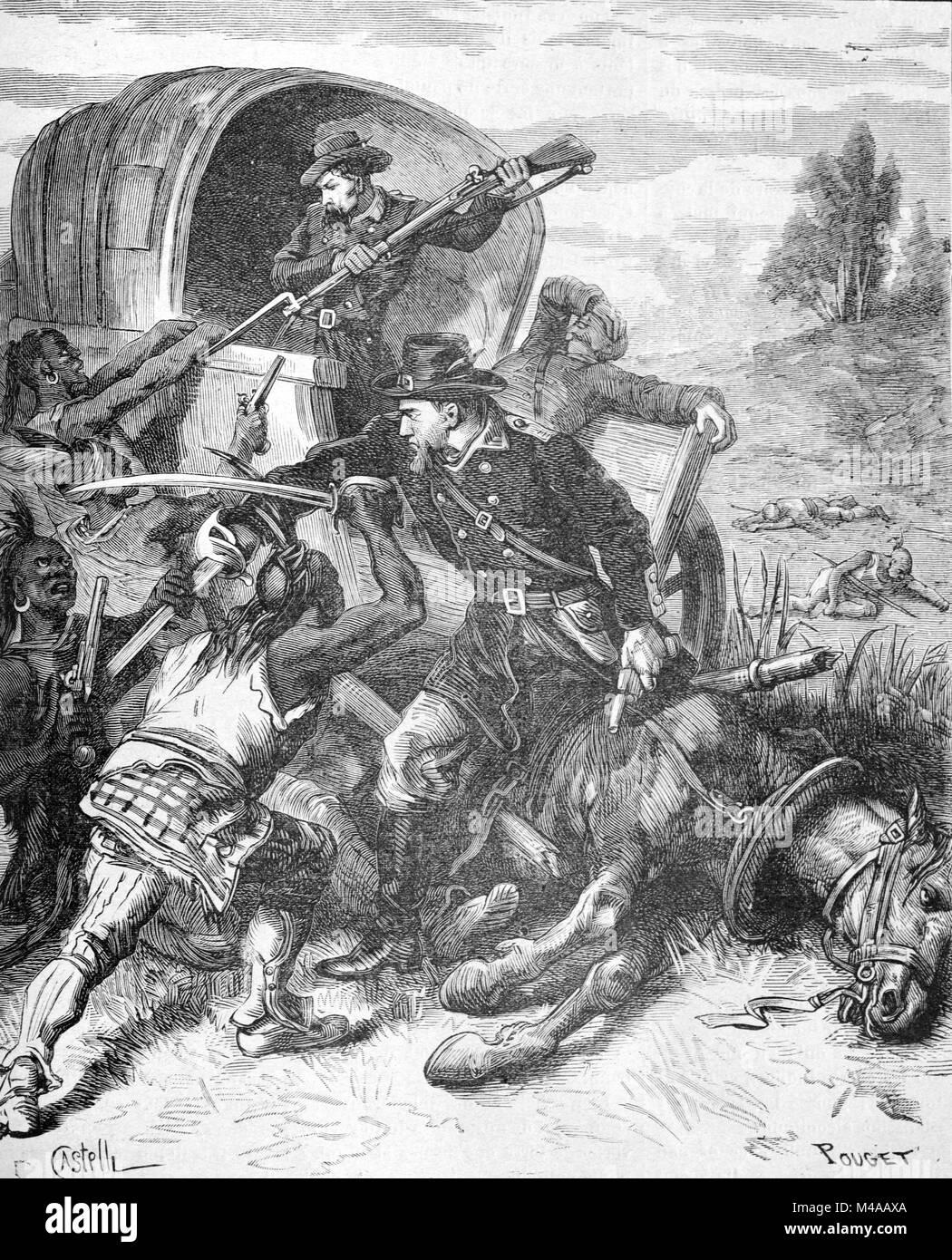 American Indian Wars oder Wild West Konflikt zwischen Native Americans (Indianer) und Weißen Siedler oder Kolonialisten Stockbild