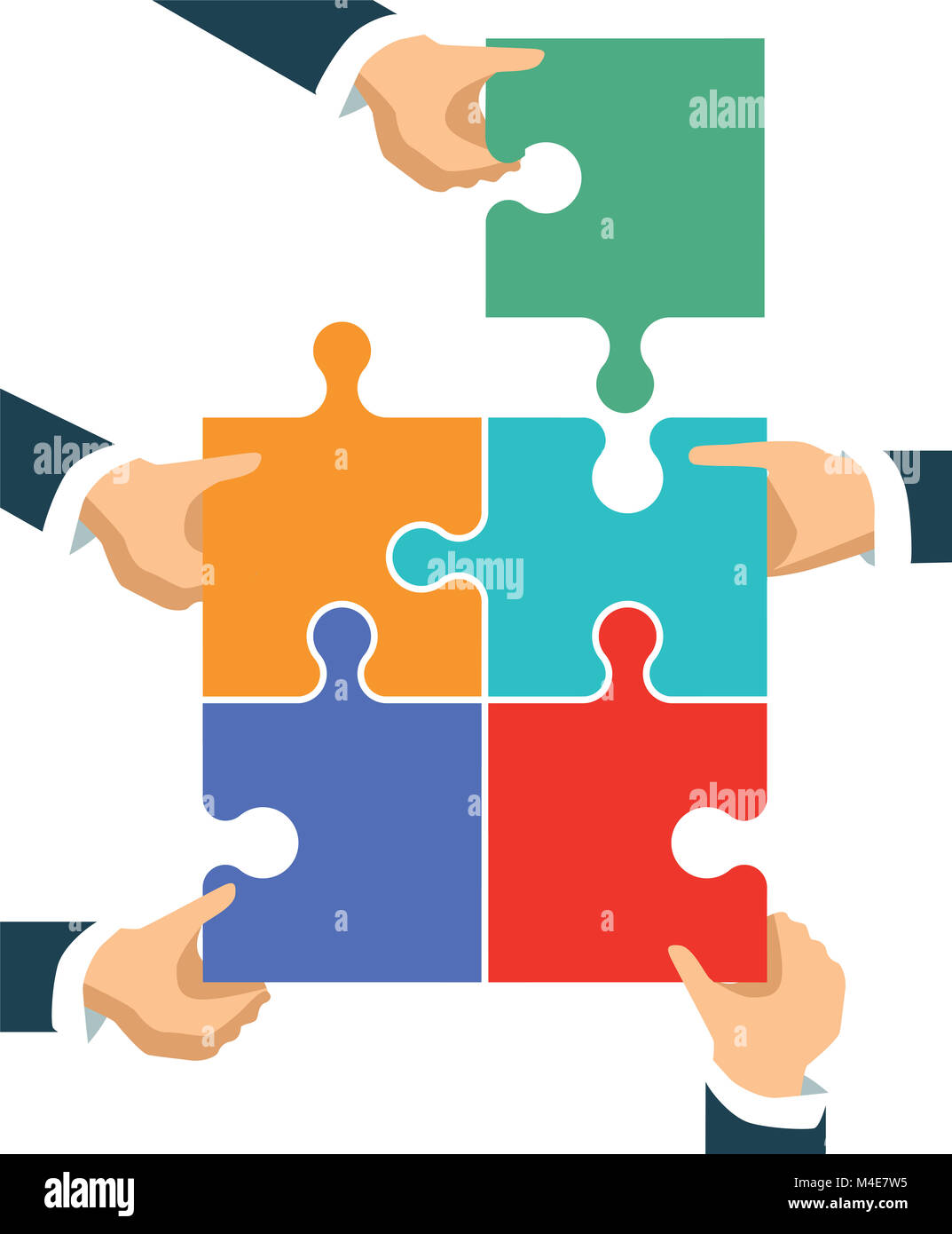 Verbindungen und die Zusammenarbeit in der Gruppe, Abbildung Stockbild