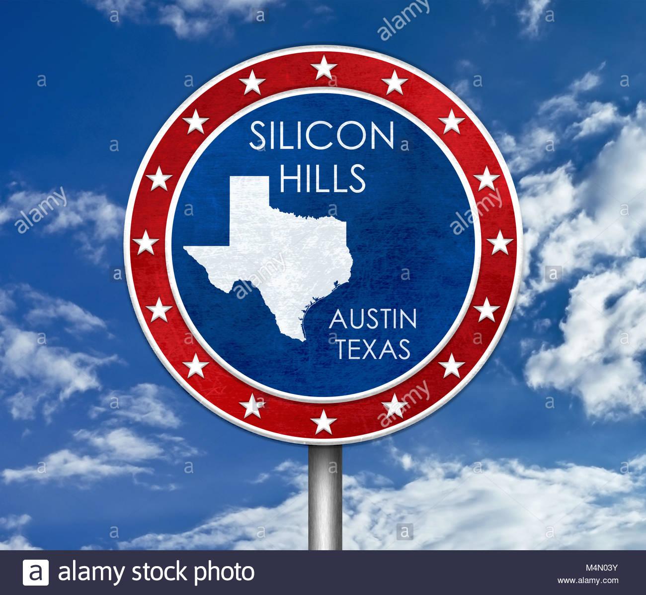 Silicon Hills in Austin Texas - Karte Abbildung Stockbild