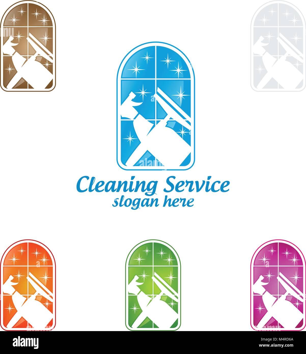 Reinigung vektor Logo Design, umweltfreundliche Konzept für Innen ...
