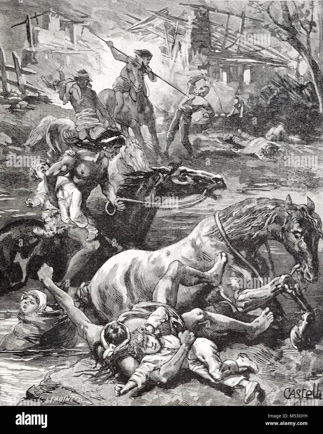 Konflikt zwischen europäischen Kolonialisten oder Siedler und Indianer in Brasilien. Indigene Brasilianer Angriff Stockbild