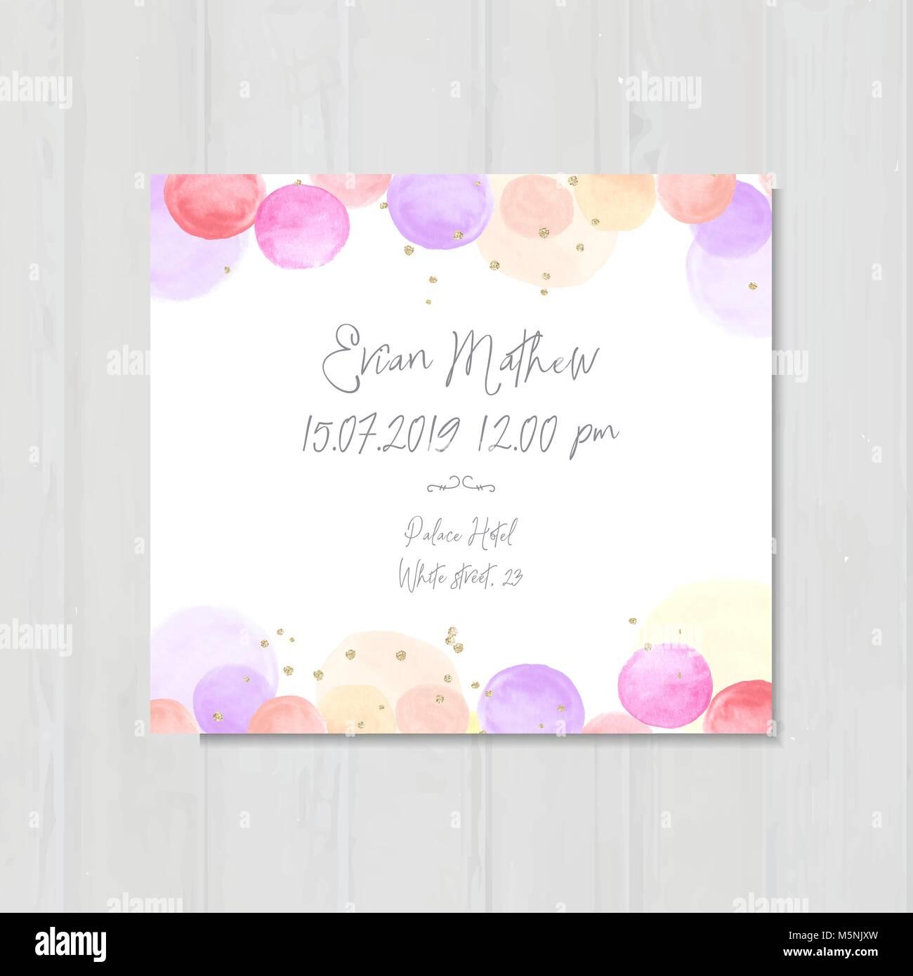 Baby Dusche Einladung Vorlage Einladen Karte Aquarell Blasen
