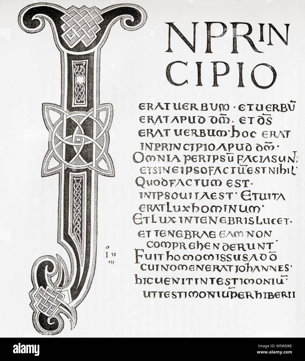 Nach dem Lateinischen evangelien dargestellt von König athelstane an der Kirche von Canterbury. Aus Old England: Stockbild