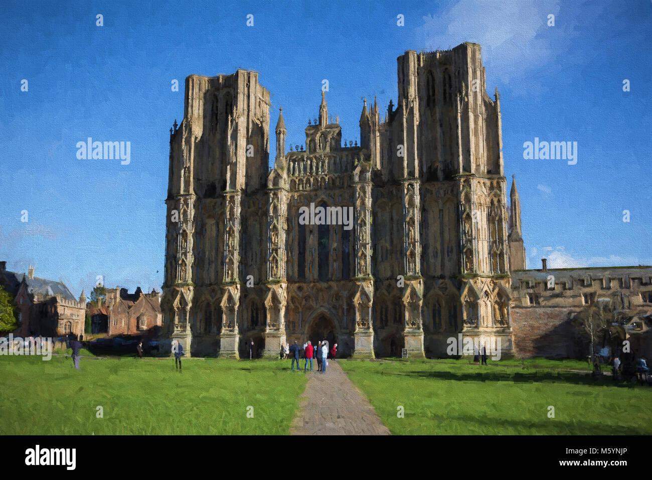 Wells Cathedral Somerset historischen englischen Gebäude Abbildung wie Öl Malerei Stockbild