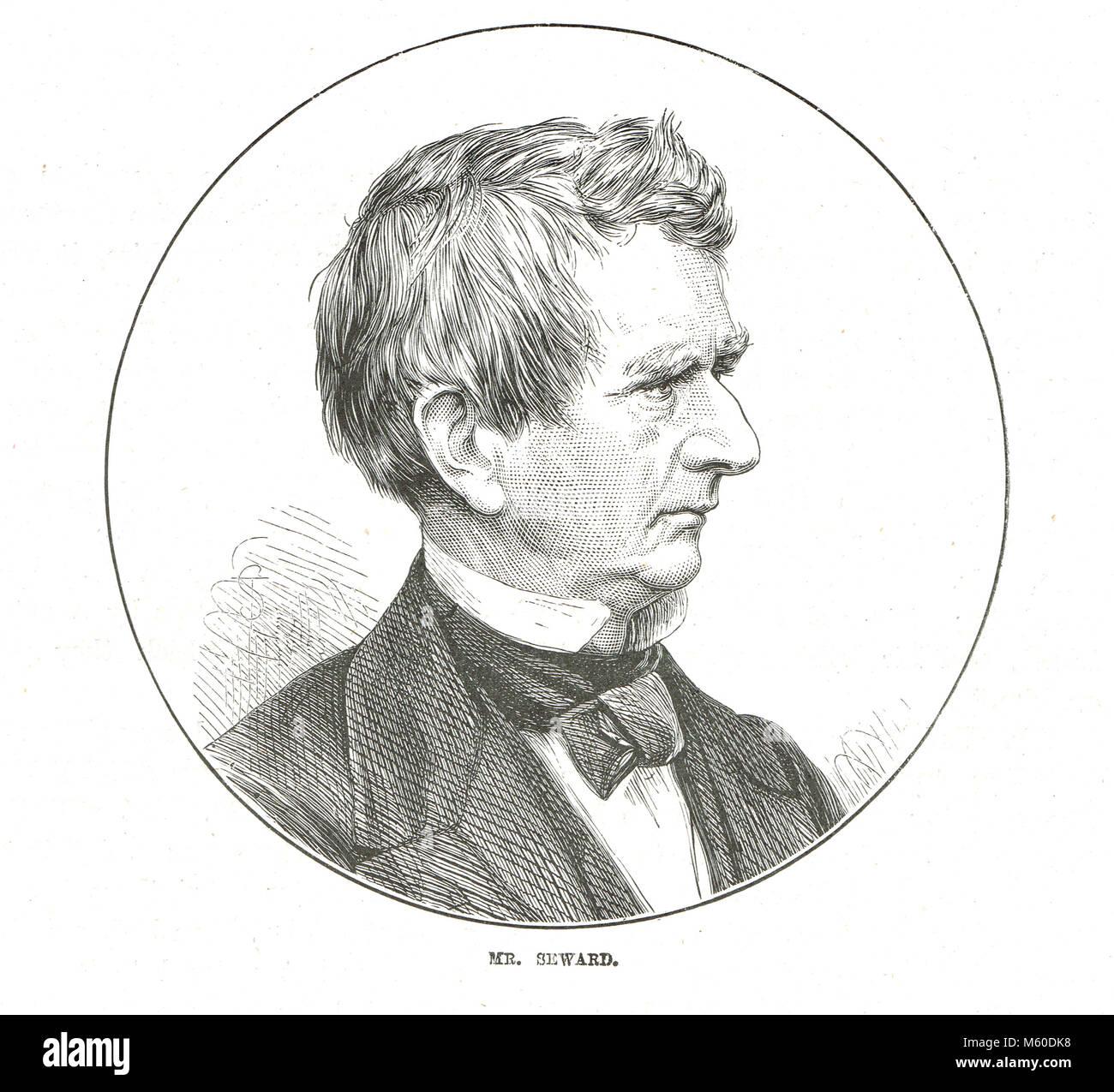 William Henry Seward, 1801-1872, Außenministerin der Regierung der Vereinigten Staaten während des amerikanischen Stockbild