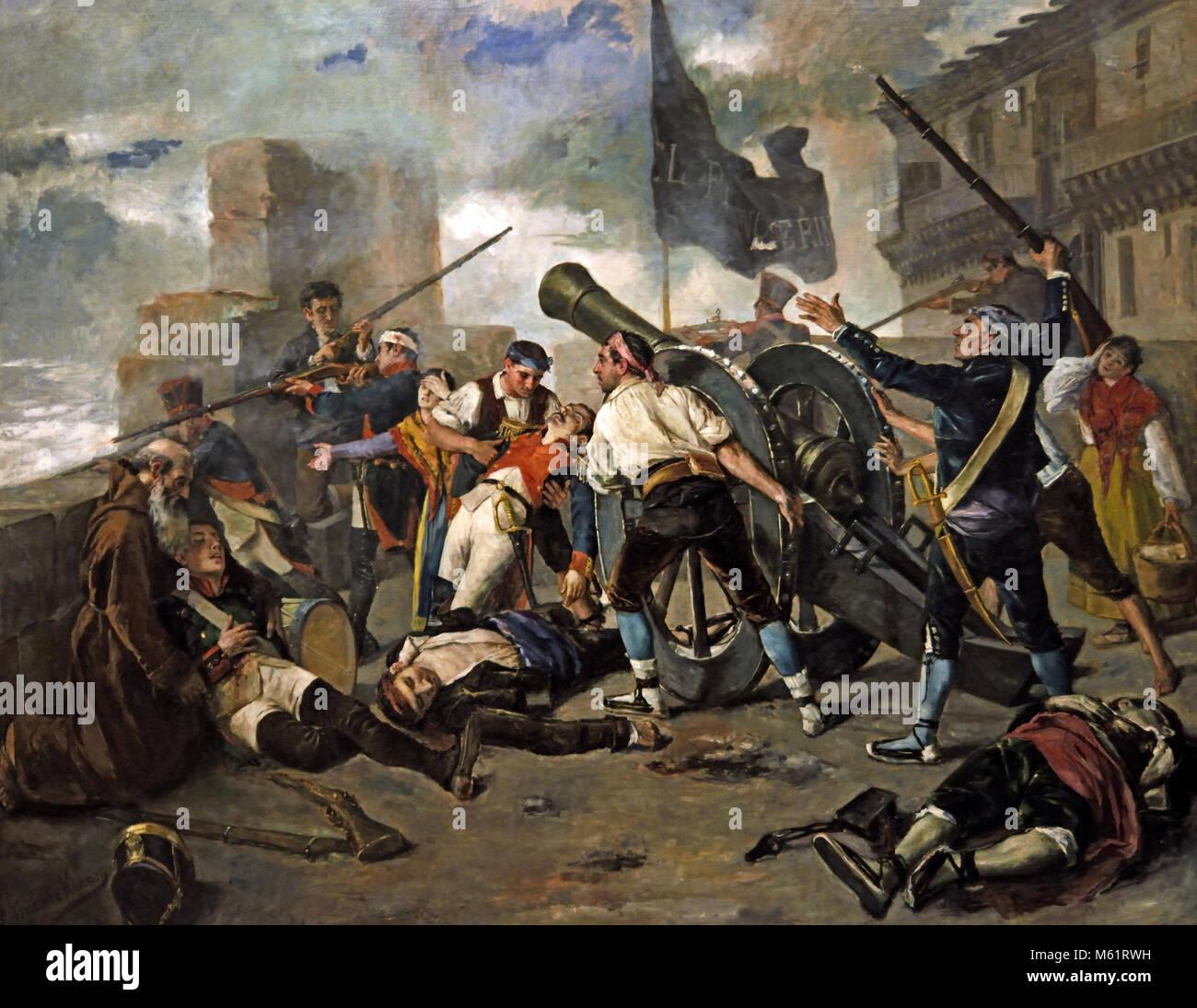 Episode der Verteidigung von Zaragoza gegen die Franzosen (El Pilar nicht aufgeben) Federico Jiménez Nicanor Stockbild