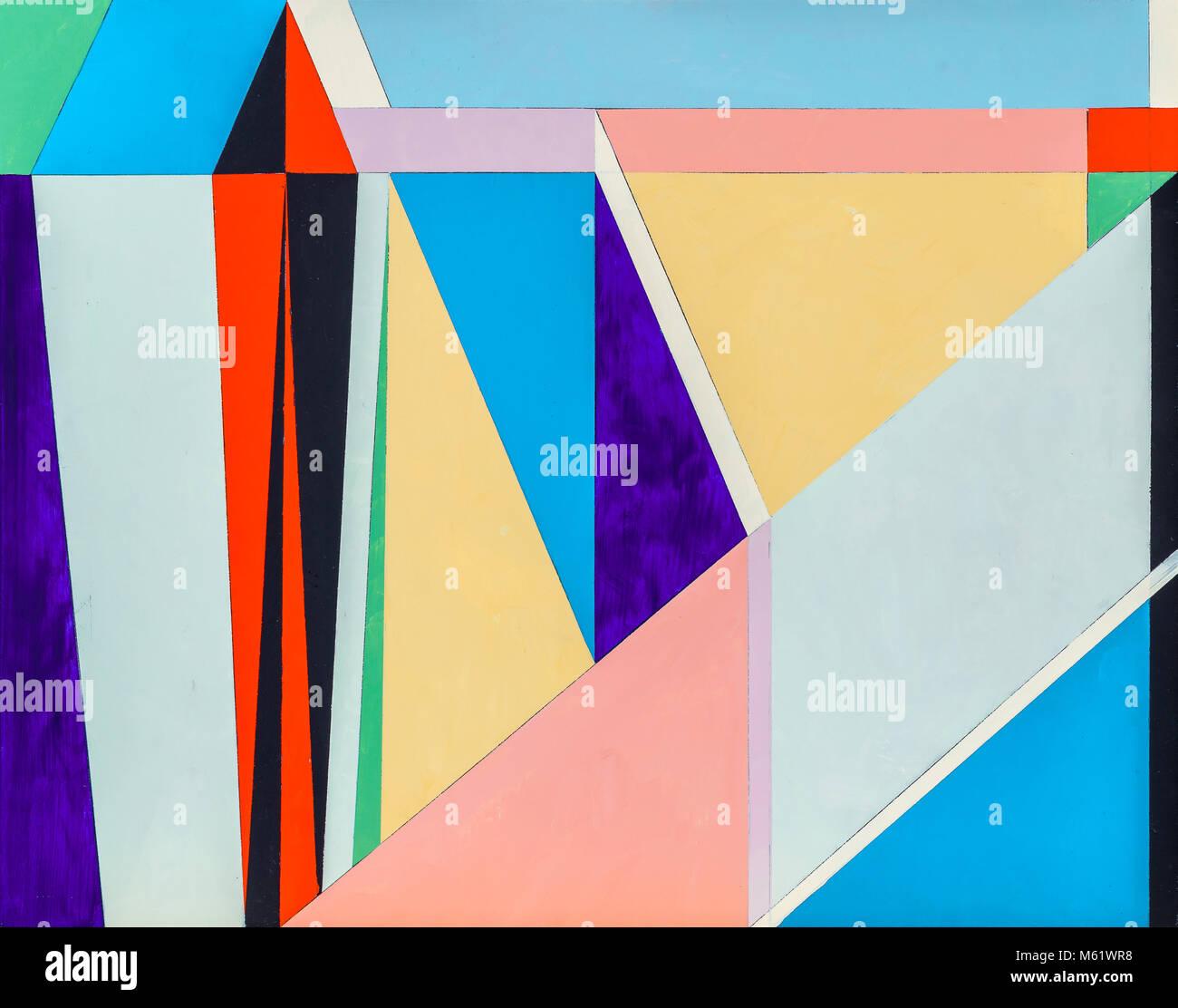 Ein abstraktes Gemälde, geometrische Abstraktion mit vielen dreieckigen Elementen. Stockbild