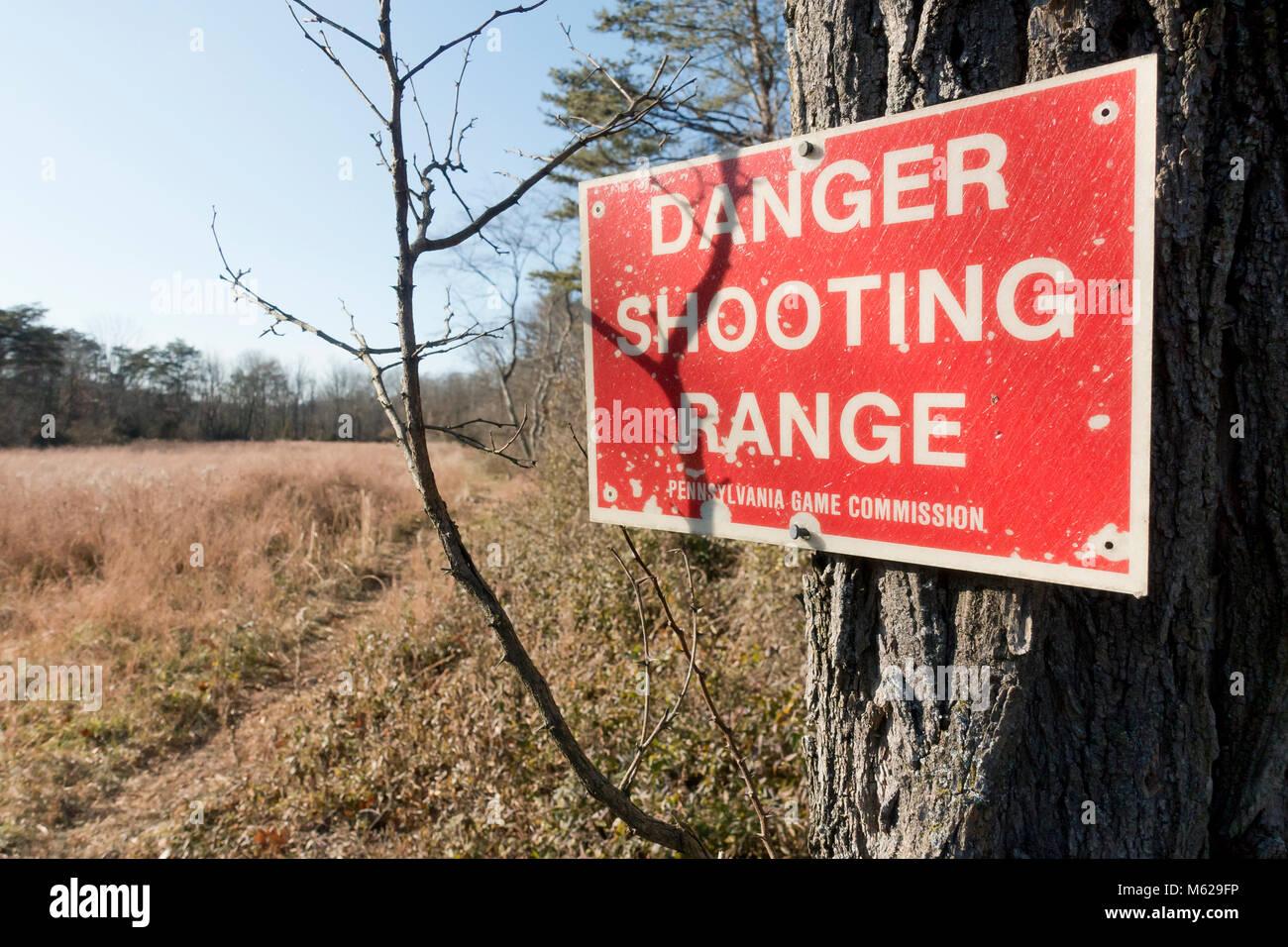 Shooting Range Warnschild - Pennsylvania USA Stockbild