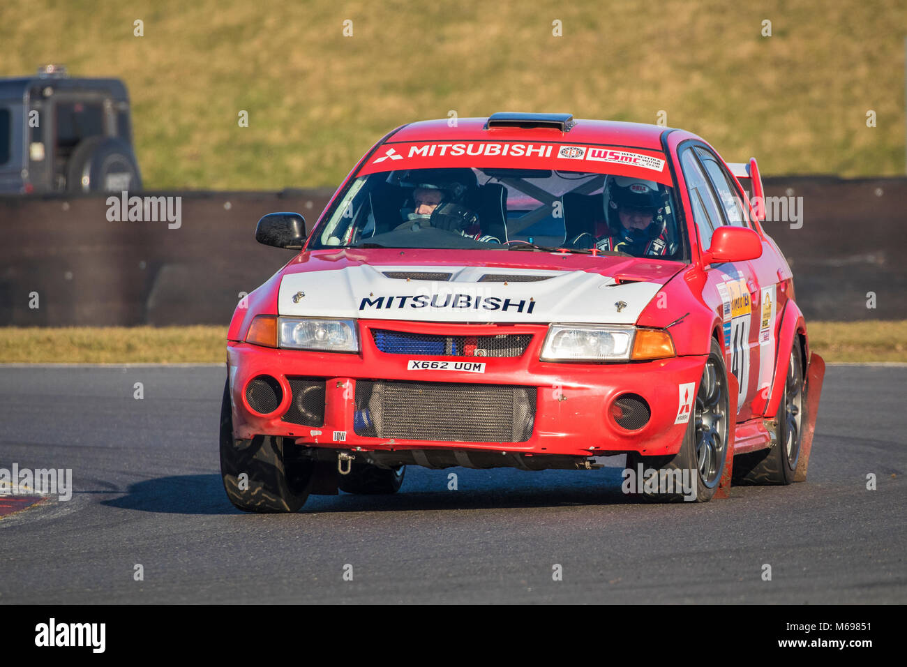 David Daniel und Stuart Kingham im Mitsubishi Evo 6 in der Motorsport News Snetterton Bühne Rallye 2018, Norfolk, Stockbild