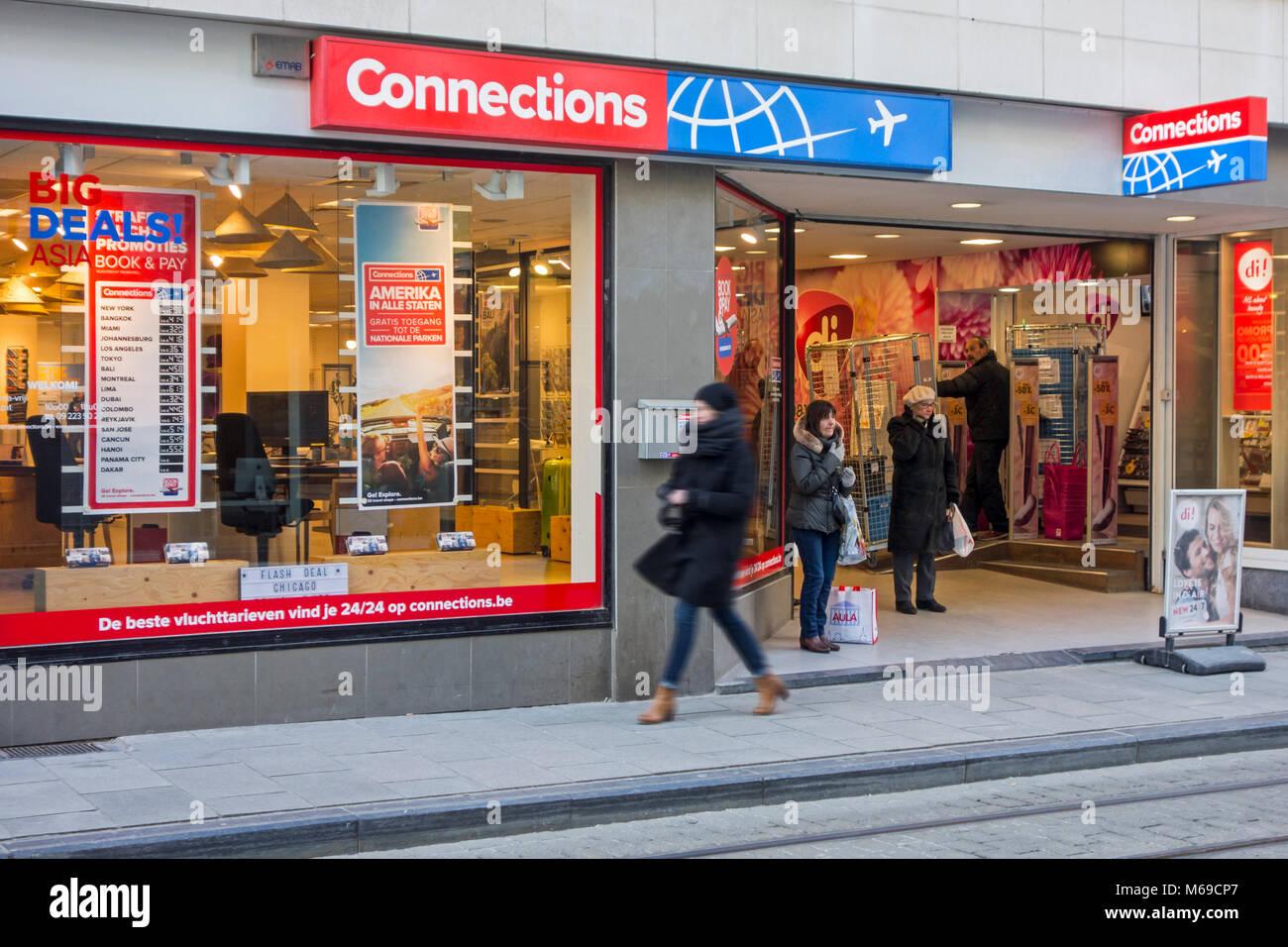 Verbindungen Travel Shop/Reisebüro in Belgien Stockbild