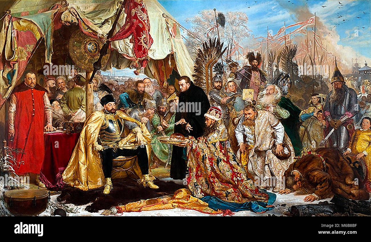 Die Belagerung Von Pskov aus polnischer Perspektive: Batory in Pskow, 1579. Gemälde von Jan Matejko im Jahr Stockbild