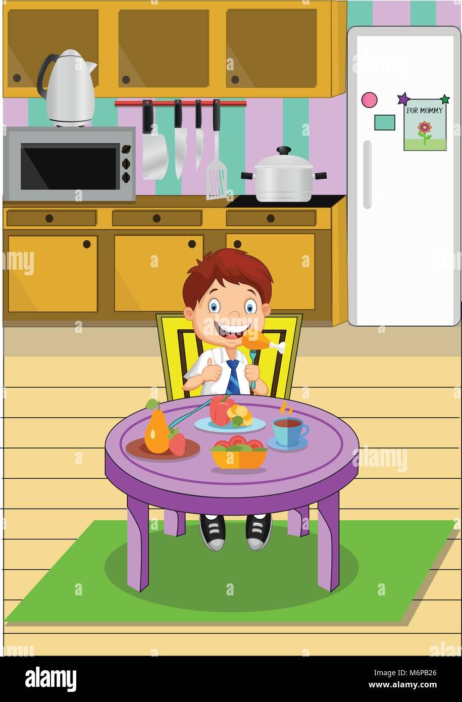 Cartoon school junge Essen am Tisch sitzen auf Küche. Vector ...