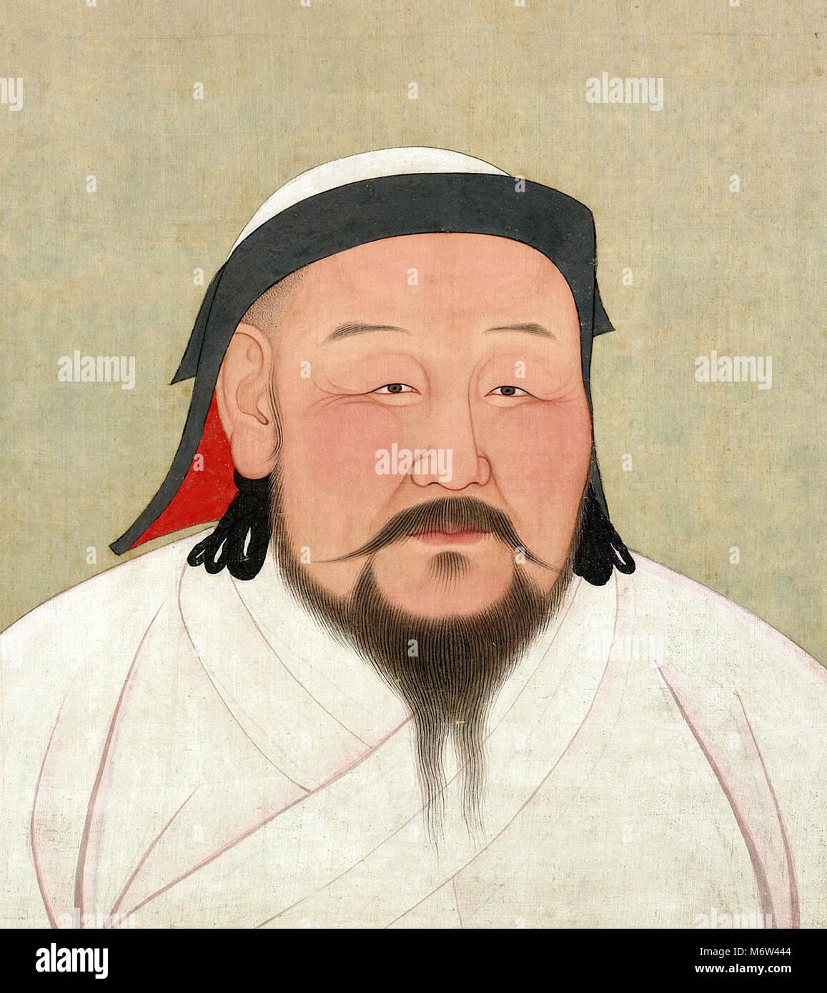 Kublai Khan (1215-1294), Porträt des Fünften scheiterten (Great Khan) des Mongolischen Reiches, Farbe Stockbild