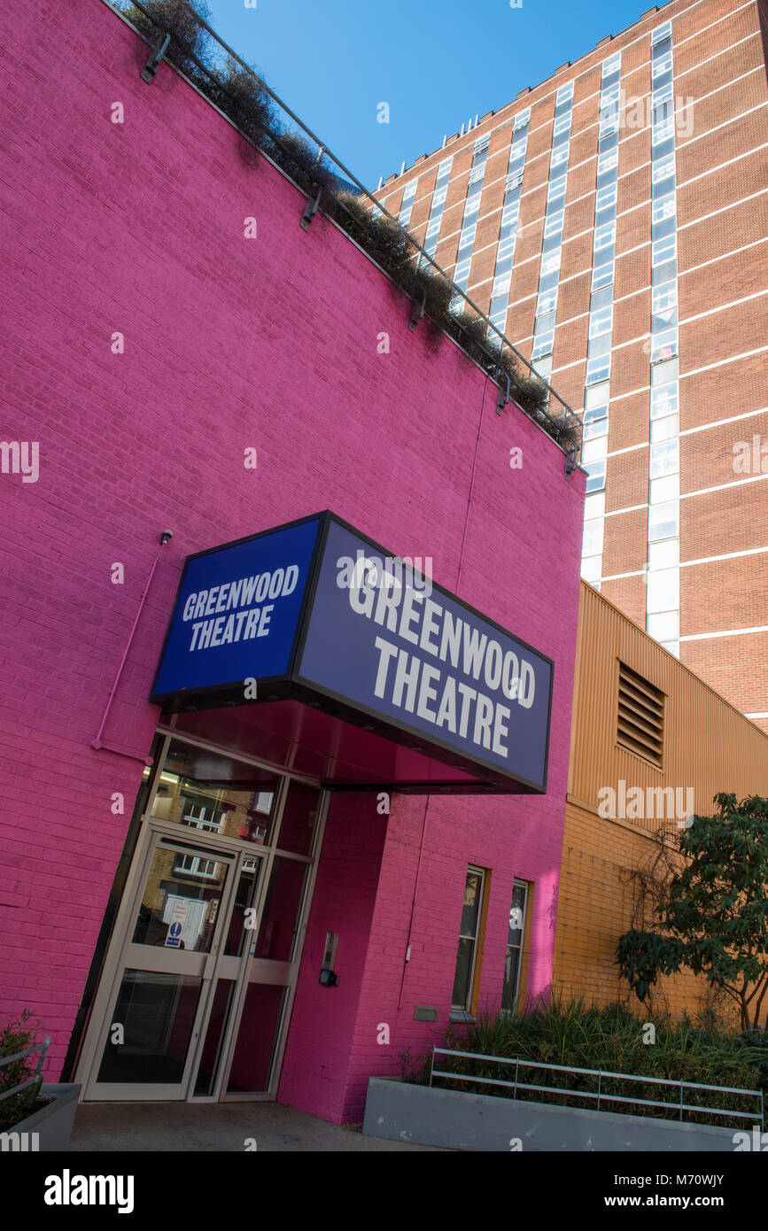 Die Greenwood Theater in Bermondsey Central London. Unterhaltungsmöglichkeiten in der Hauptstadt für Schauspieler Stockbild