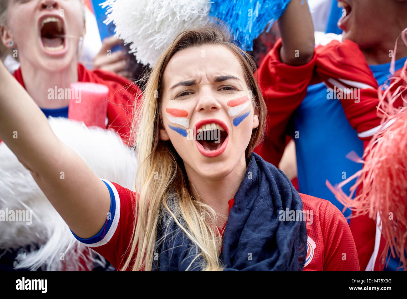 Französische Fußball-Fan Jubel bei Match, Porträt Stockbild