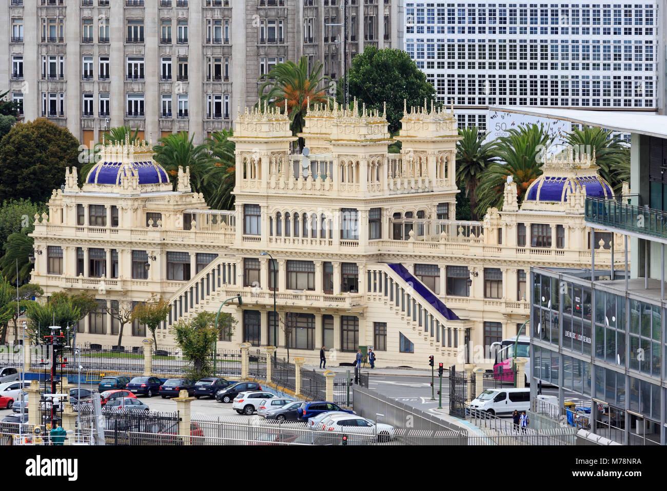 Terraza Gebäude, La Coruna, Galicien, Spanien, Europa Stockbild