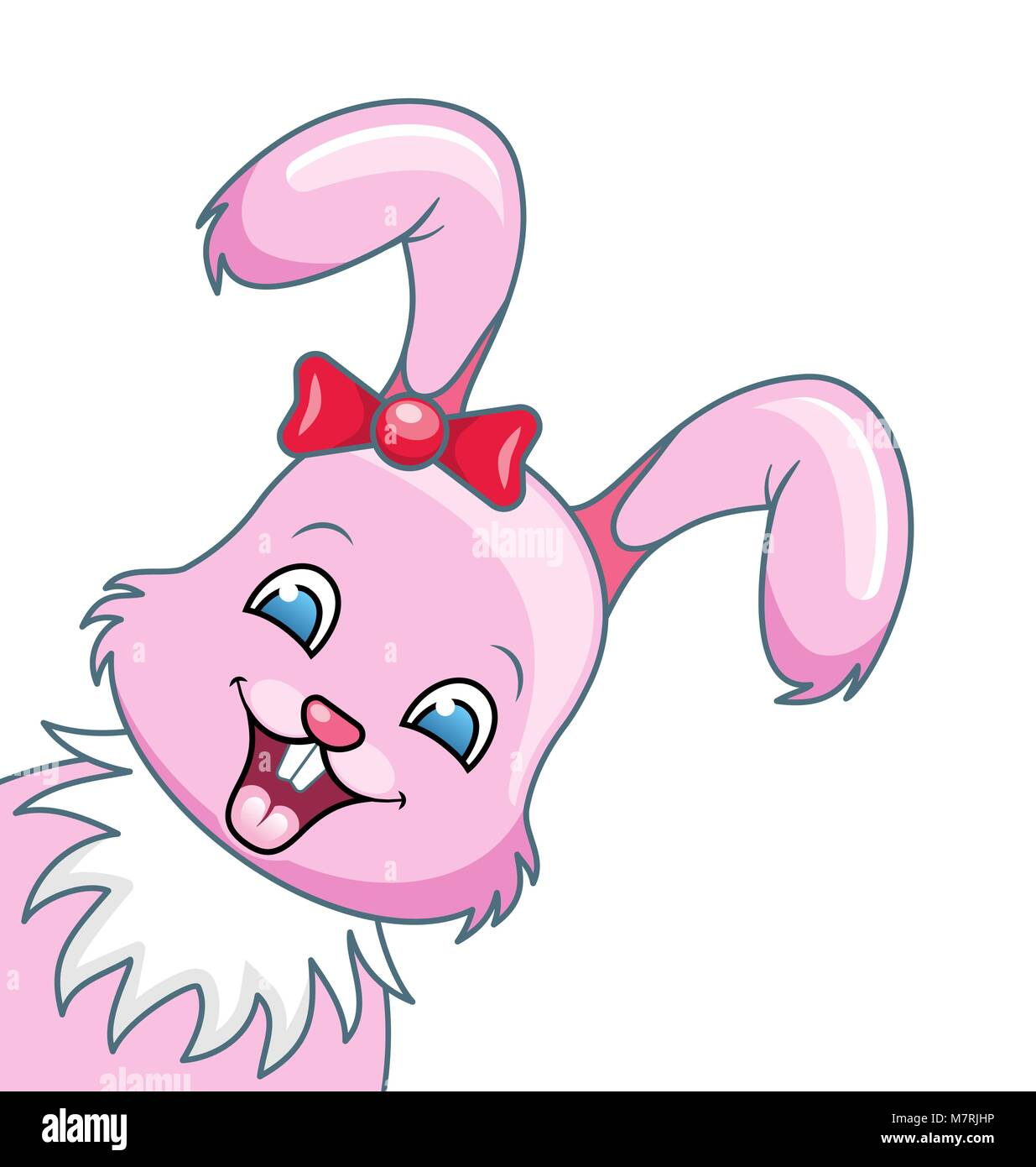 Lächelnd Kaninchen Cartoon Mädchen, schöne Bunny, glücklich Girling isoliert auf weißem Stockbild