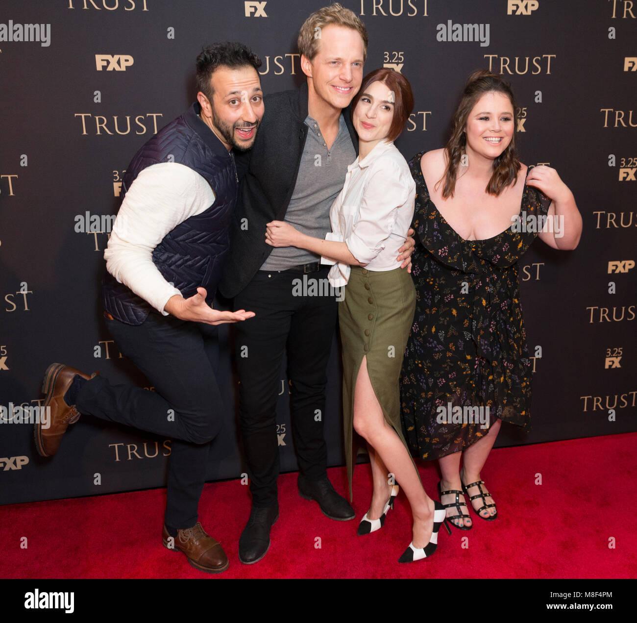 New York, NY - 15. März 2018: desmin Borges, Chris Geere, Aya Bargeld, Kether Donohue besuchen FX jährliche Stockbild