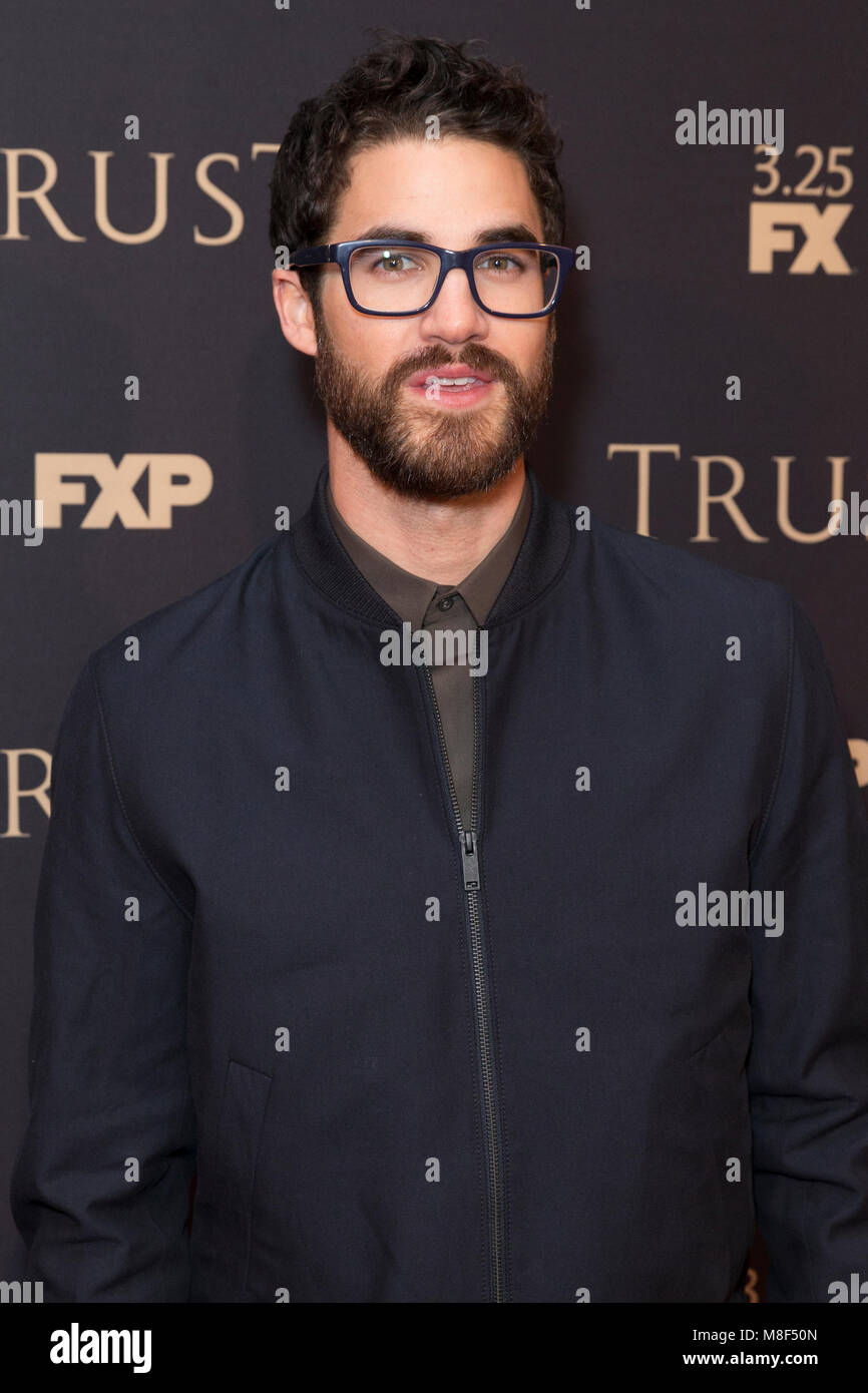 New York, NY - 15. März 2018: Darren Criss besucht FX jährliche All-Star-Party an der SVA Theater Stockbild