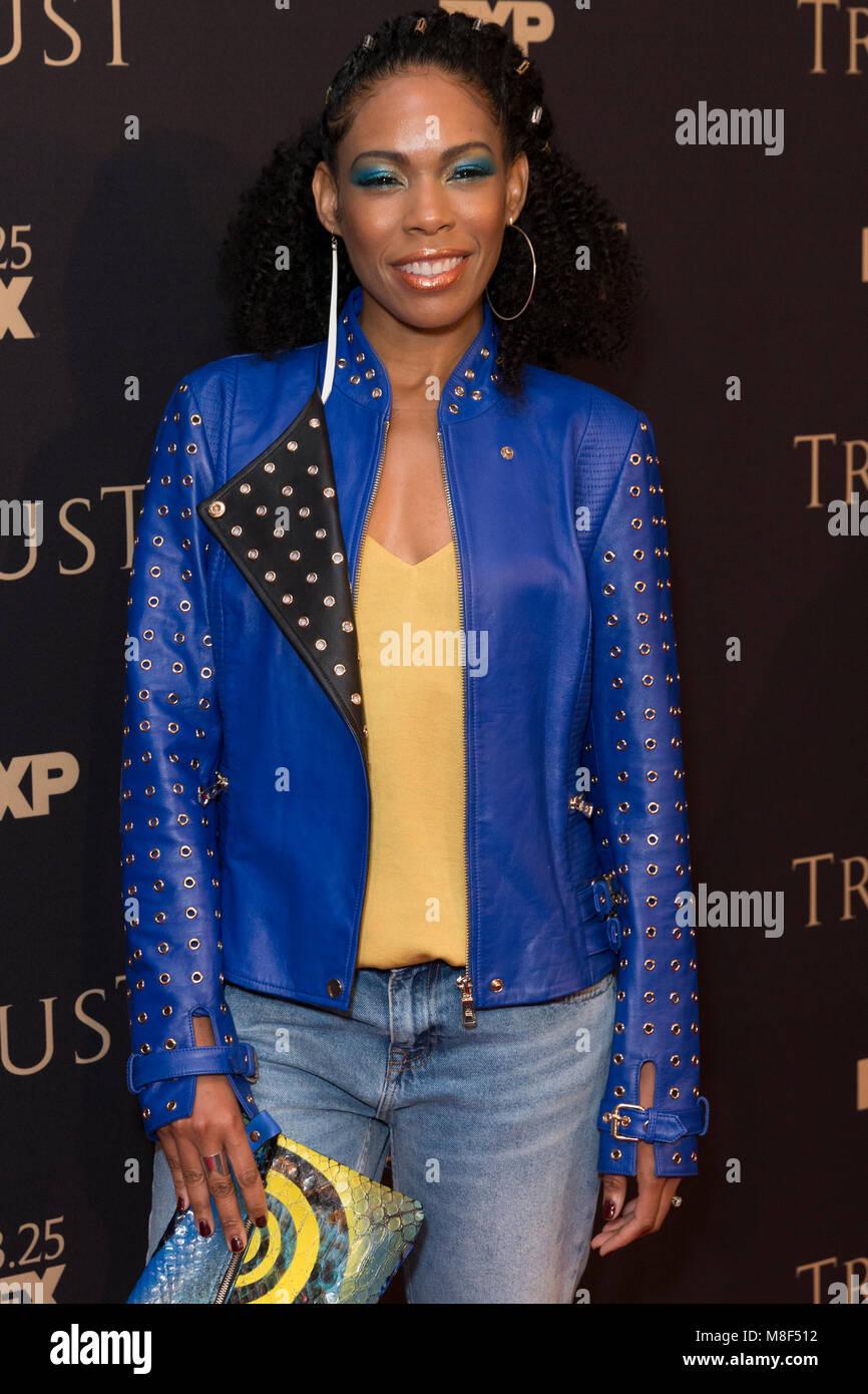 New York, NY - 15. März 2018: Angela Lewis besucht FX jährliche All-Star-Party an der SVA Theater Stockbild