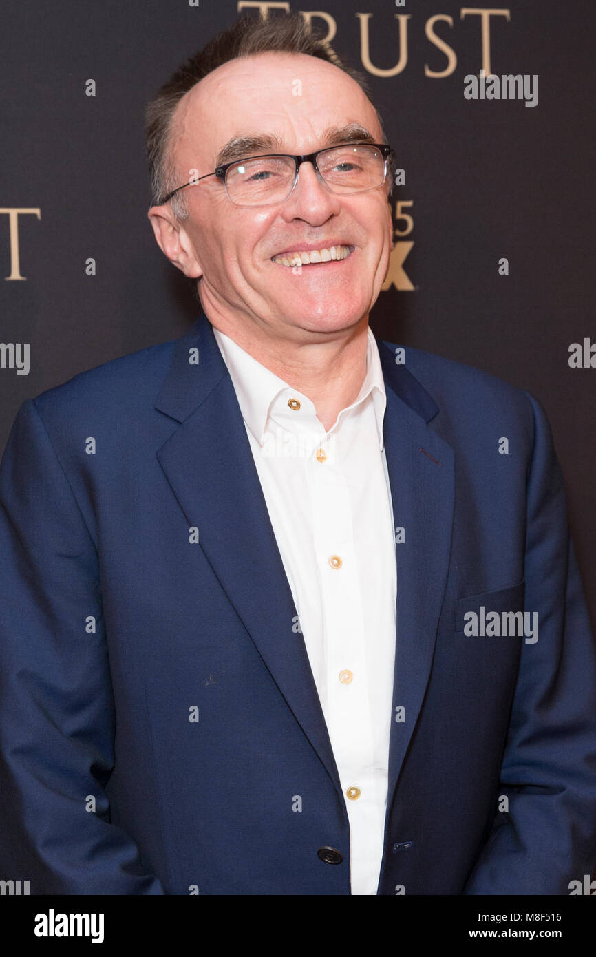New York, NY - 15. März 2018: Danny Boyle nimmt FX jährliche All-Star-Party an der SVA Theater Stockbild
