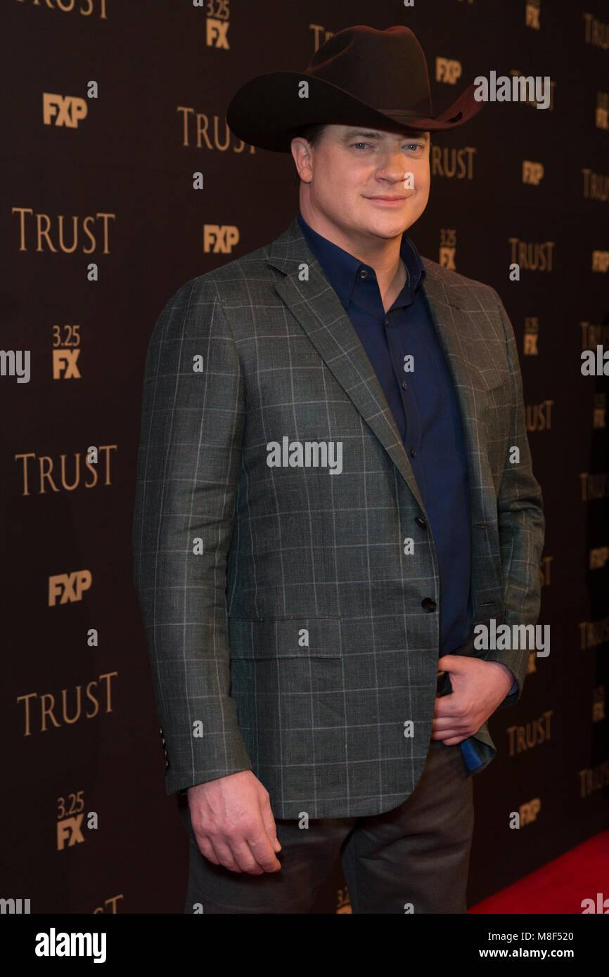 New York, NY - 15. März 2018: Brendan Fraser nimmt FX jährliche All-Star-Party an der SVA Theater Stockbild