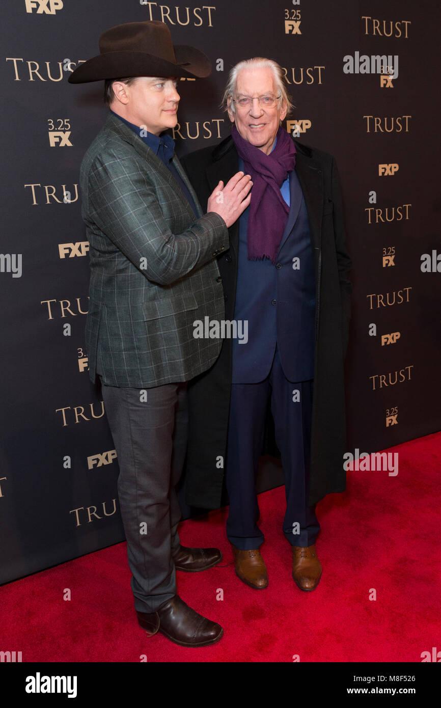 New York, NY - 15. März 2018: Brendan Fraser und Donald Sutherland besuchen FX jährliche All-Star-Party Stockbild