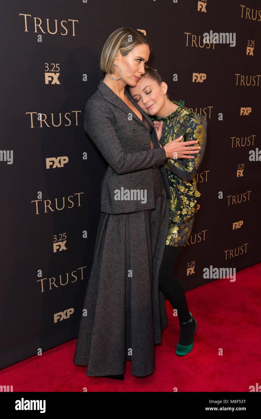 New York, NY - 15. März 2018: Sarah Paulson und Billie Lourd besuchen FX jährliche All-Star-Party an der Stockbild