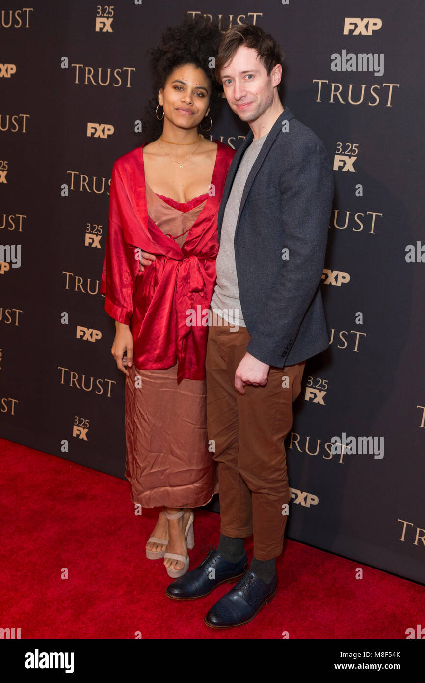New York, NY - 15. März 2018: zazie Beetz und David Rysdahl besuchen FX jährliche All-Star-Party an der Stockbild