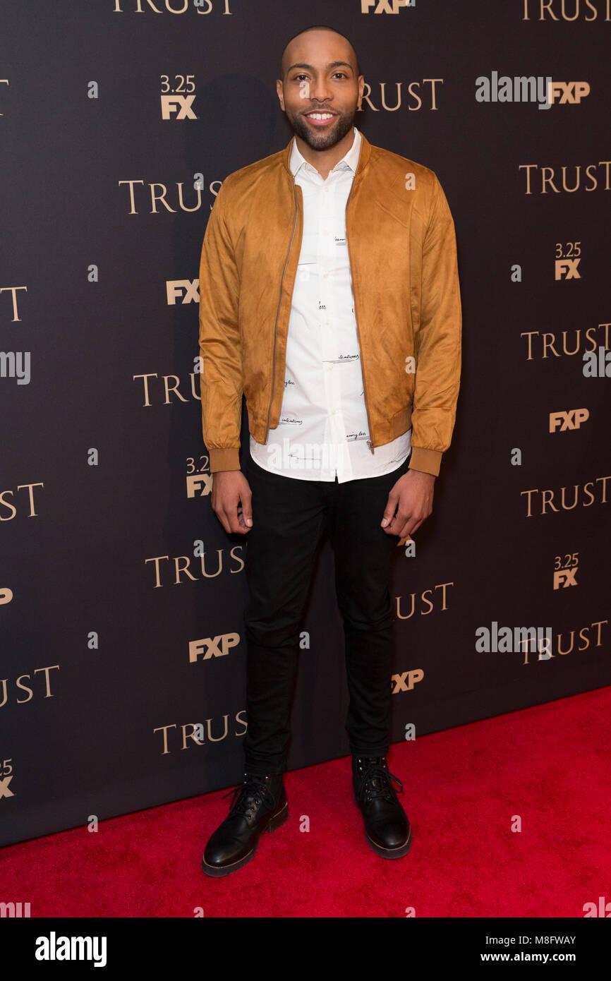 New York, NY - 15. März 2018: Jeremie Harris besucht FX jährliche All-Star-Party an der SVA Theater Stockbild