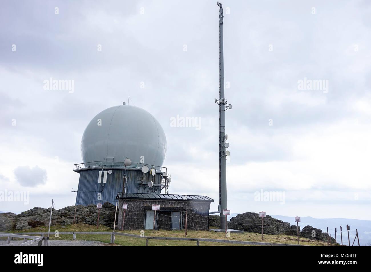 Radar Station am Großen Arber (Großer Arber), Bayerischer Wald, Bayern, Deutschland. Stockbild