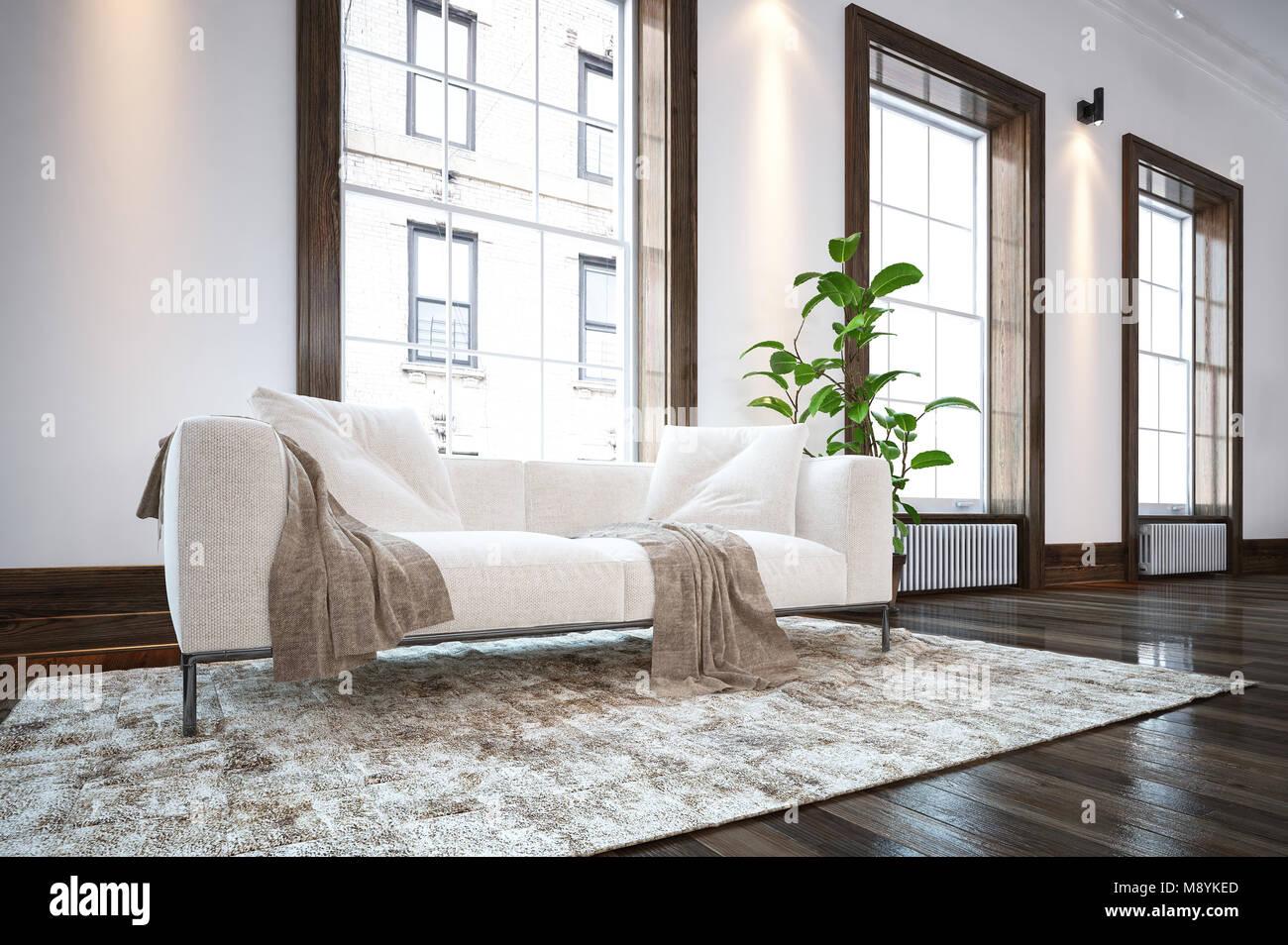 Große geräumige, luxuriöse minimalistischen Wohnzimmer mit bequemen ...