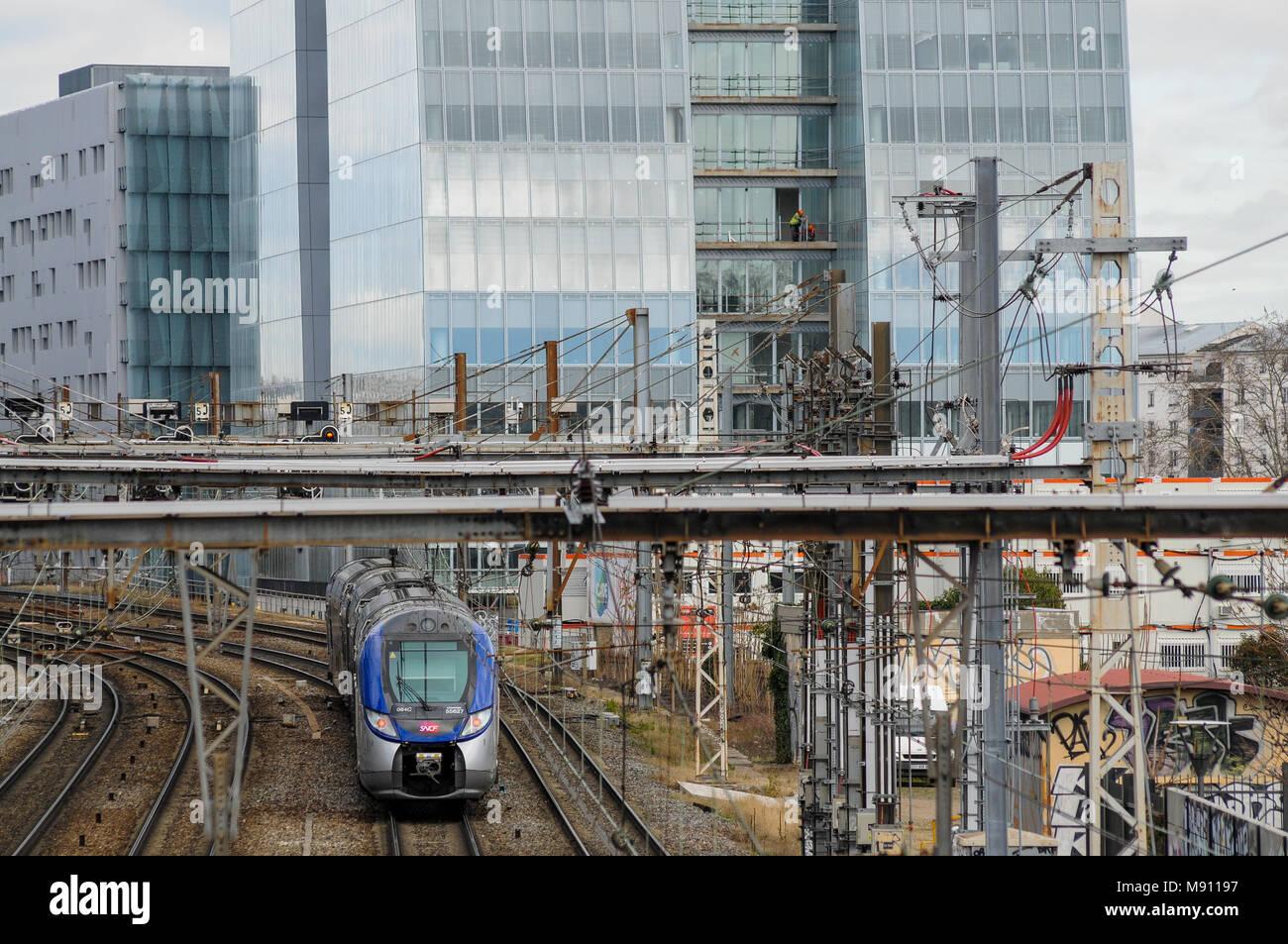 TER, SNCF Regionalzug, Lyon, Frankreich Stockbild