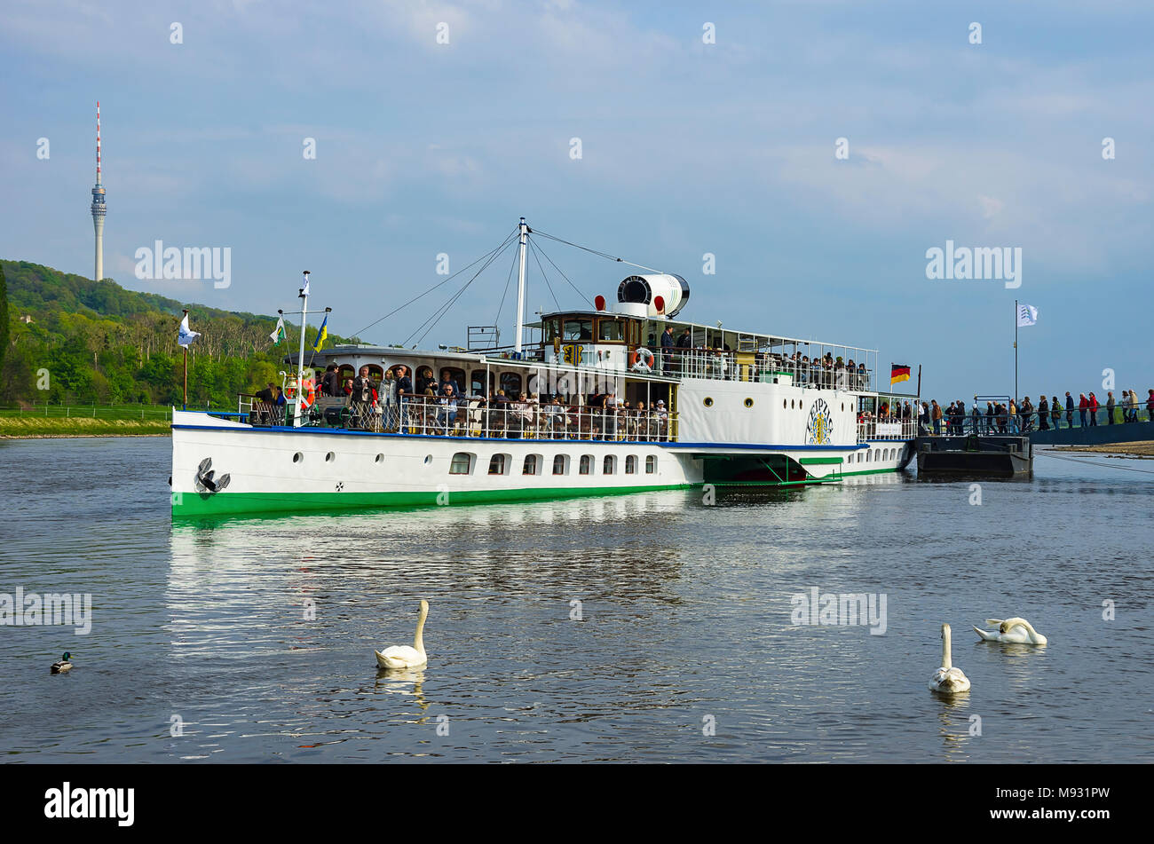 Der historische Raddampfer PD LEIPZIG hat am Bootssteg im Stadtteil Blasewitz, Dresden, Sachsen, Deutschland angedockt. Stockbild