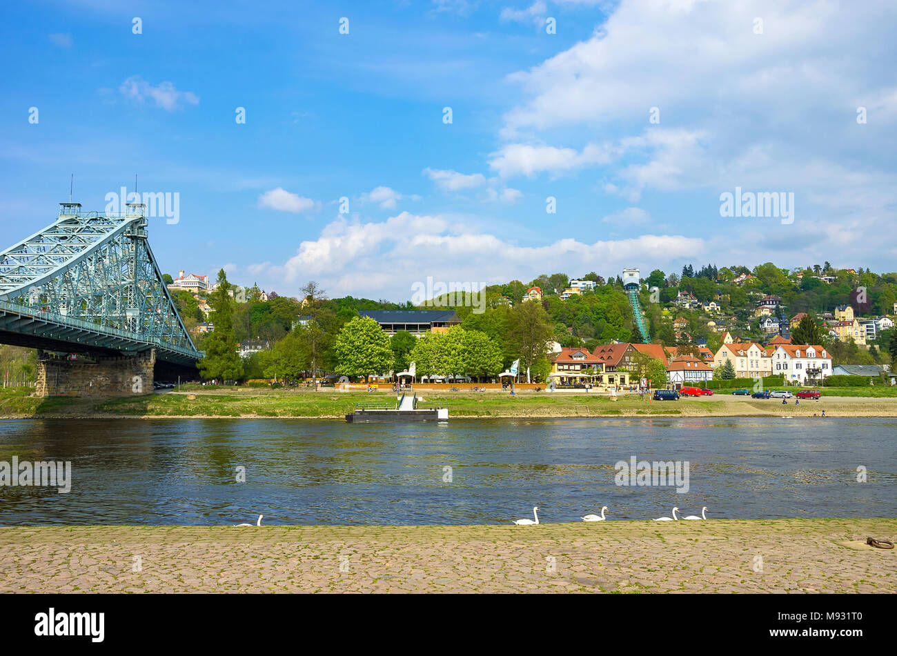 Blick über die Elbe auf Blaues Wunder Loschwitzer Brücke, Körner Garten und Schwebebahn. Stockbild