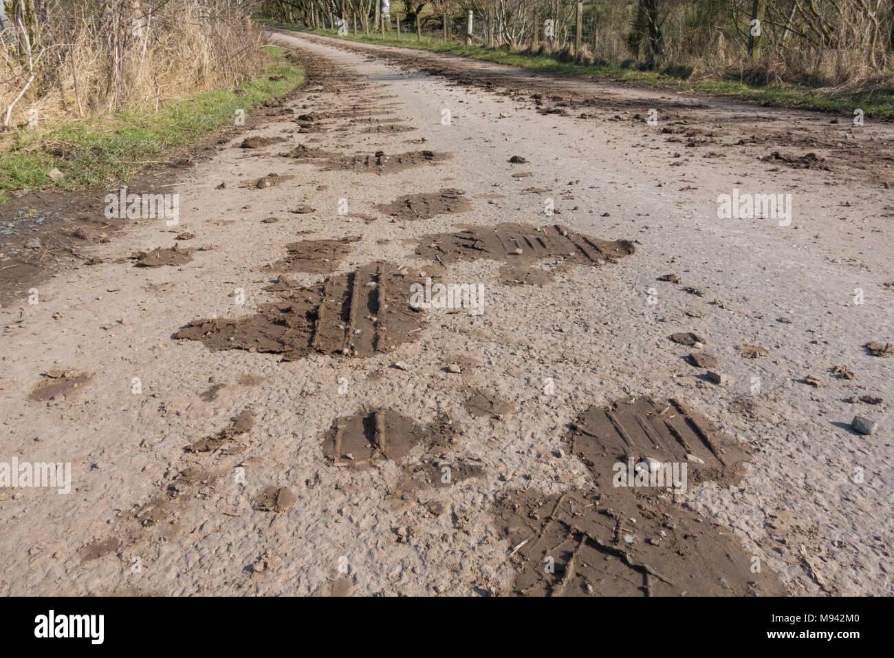 Schlamm auf ländlichen Landstraße - Großbritannien Stockbild
