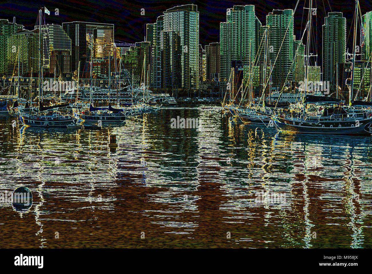 Hafen von San Diego, San Diego, Kalifornien, USA. Foto verarbeitet mit einem leuchtenden Kanten Effekt. Stockbild