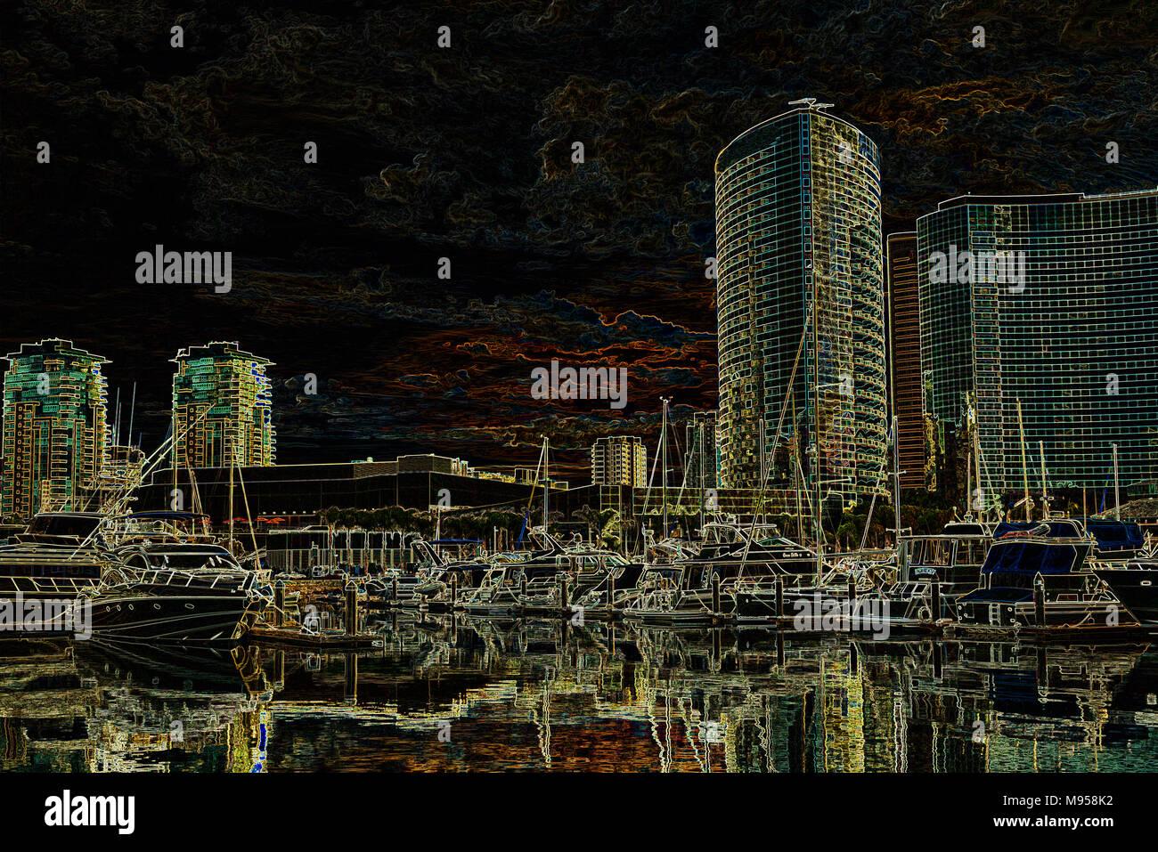 Embarcadero Marina und der Innenstadt von Gebäuden, San Diego, Kalifornien, USA. Foto verarbeitet mit leuchtenden Kanten Effekt. Stockbild