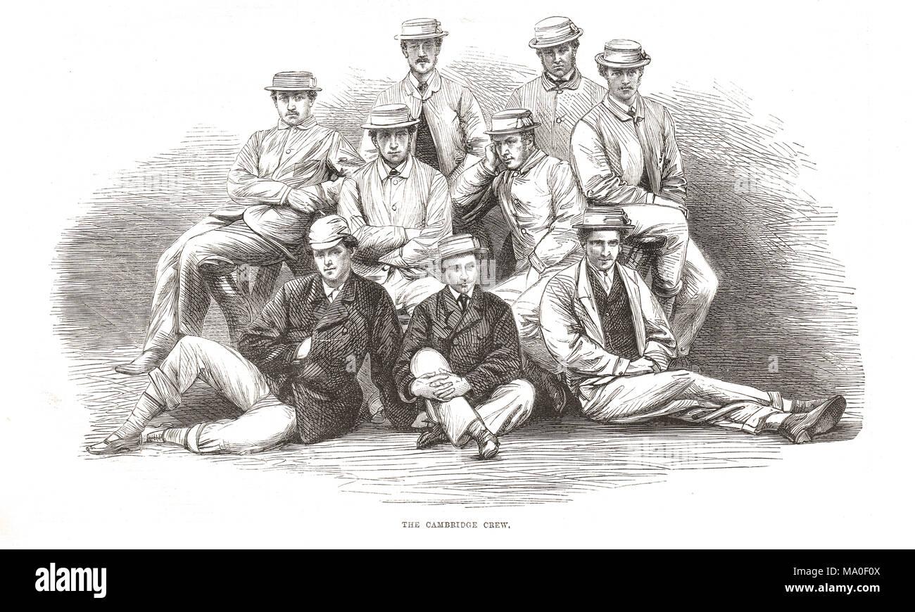 Cambridge Boat Race Crew, Oxford and Cambridge Boat Race 1867 Stockbild