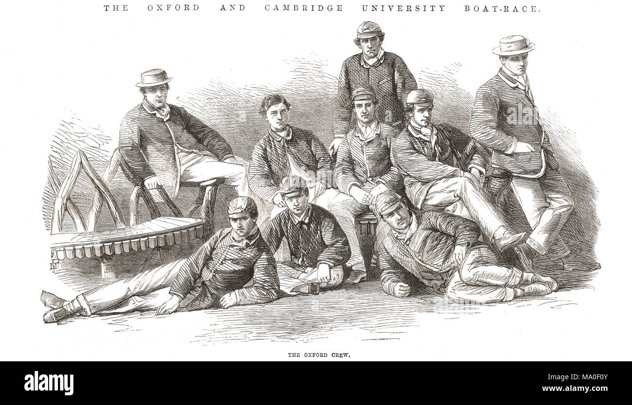 Oxford Boat Race Crew, Oxford and Cambridge Boat Race 1867 Stockbild