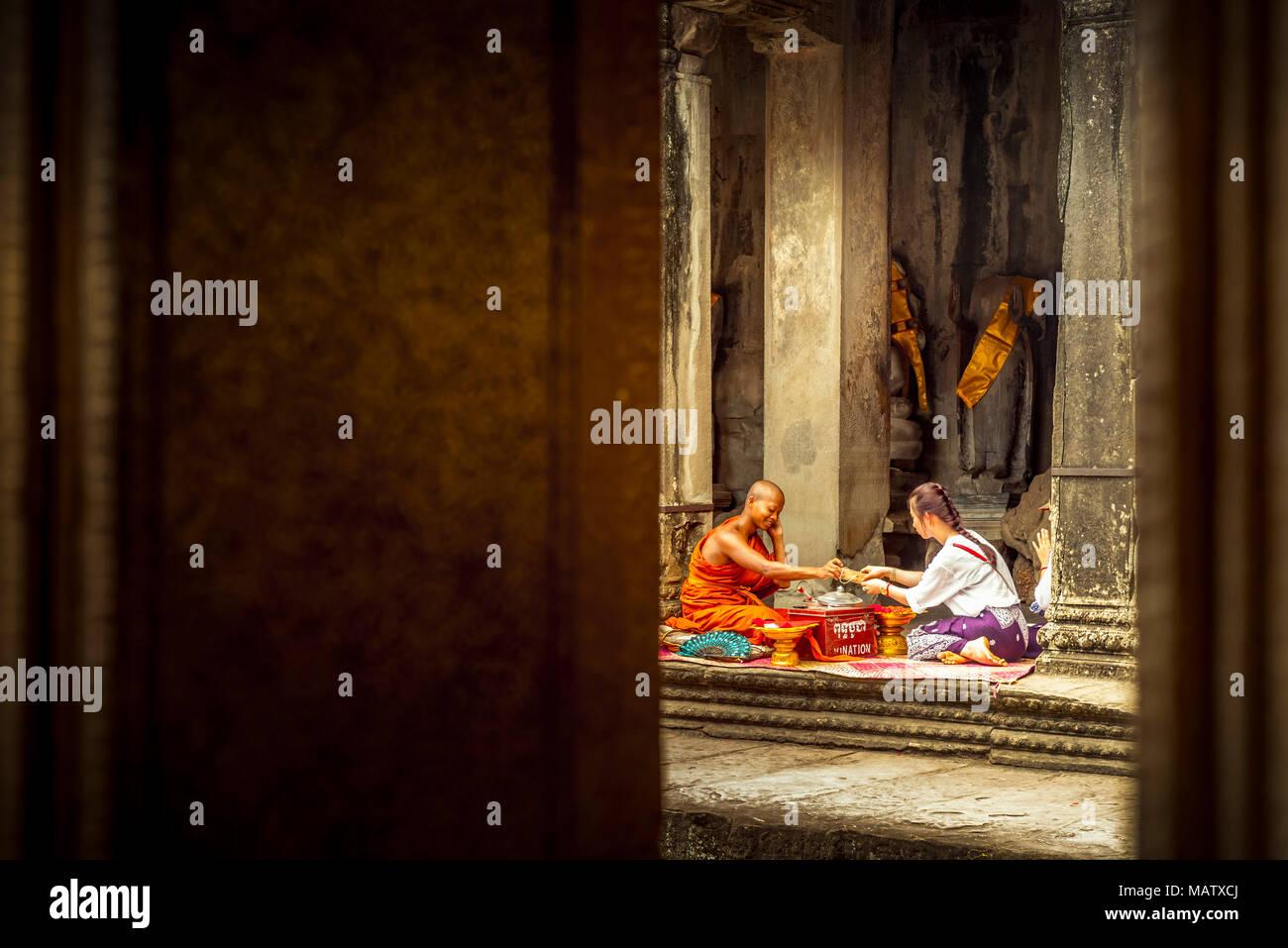 Asien, Kambodscha, Angkor Wat, Priester Stockbild